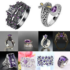 Retro Bee Punk Rings 925 Silver Amethyst Ring Lady Wedding Anniversary Jewelry