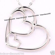 Xmas Gifts For Her - 3 Love Heart Necklace Silver Pendant Wife Girlfriend Women