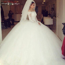 Long Sleeve Lace Princess White/Ivory Wedding Dresses Bridal Ball Gowns Custom