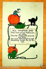 ALL HALLOWS EVE WITCHCRAFT FORTUNE TELLING Nash HALLOWEEN H-29 Vintage Postcard