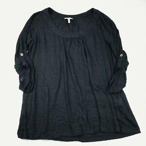 Joie Womens 100% Linen Top Size L Black 3/4 Sleeve Roll Tab Scoop Neck Shirt