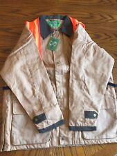 Vintage Stockmen's Blaze Orange Brown Flannel Hunting Shooting Jacket - Large