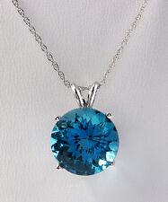 9.30 CTW Natural London Blue Topaz 14K Solid White Gold Necklace & Pendant