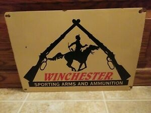 Vintage Winchester Guns Porcelain Sign Gas Oil Automotive Camping Hunting Fish