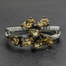 2.02ctw Citrine & White Sapphire .925 Sterling Silver Ring 4.0g Size 8