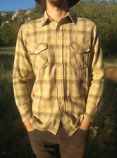 Vtg 70s Wool Checkered Flannel Shirt  (Medium) Tan Plaids Checks By Lord James