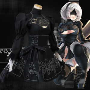 NieR:Automata 2B Uniform Black Dress Cosplay Costume + Gloves Eyepatch Hairband