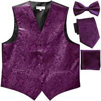 New Men's Paisley Tuxedo Vest Waistcoat & necktie & Bow tie & Hankie purple prom