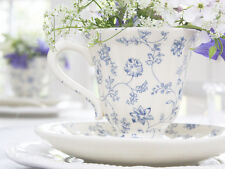 SHABBY CHIC CREAM BLUE FLORAL FRENCH CUP SAUCER TEA PARTY VALENTINE   ANTIQUE