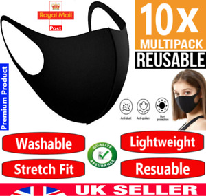 Pack 10 Face Mask Black Reusable Washable Breathable Dust Mouth Cover, CHEAP UK