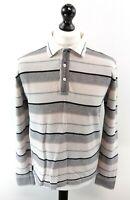 HUGO BOSS Mens Long Sleeve Polo Shirt M Medium Grey Black Stripes Cotton