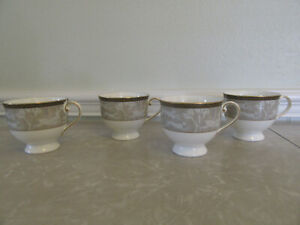 Mikasa Tea Cups Enchanted Forest Taupe Platinum Set of Four Dogs and Deers