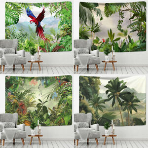 Tropical Rainforest Jungle Palm Leaves Exotic Fantasy Animals Parrot Tapestry
