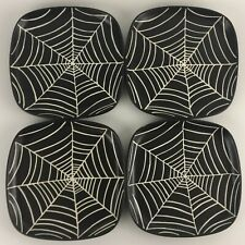 Set of 4 Salad Dessert Plates by Pottery Barn Halloween Spider Web Spooky Party