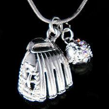 w Swarovski Crystal  Baseball Softball Glove team Sport 2 Charm Necklace Jewelry