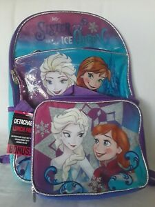 Disney Frozen Elsa Anna Backpack with detachable matching lunchbox