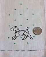 "Vintage Never Used Linen Embroidered Dog Hand Towel c1930s-1940s~20""LX14""W"