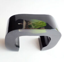 Stunning large black lucite cuff bracelet with real feather