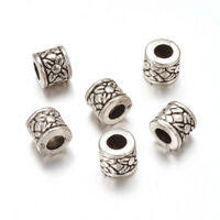 100pcs CCB Style Tibetan Acrylic Carved Spacer Beads Column Antique Silver 8mm