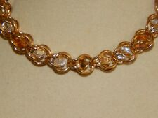 & 'Captured' Butterscotch Crystal Bracelet Hand-made Solid Brass Chain Maille