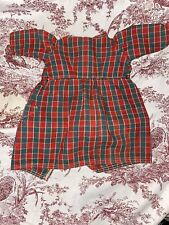 Early Antique Two Pocket Empire Waist Plaid Doll Dress