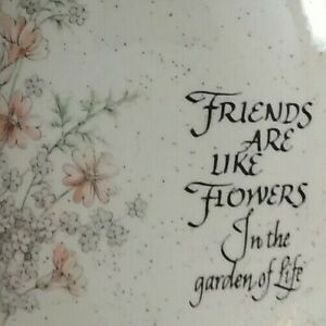"""Flat Oval Ceramic Vase Pink & White Flowers Friends Poem 7"""" Tall Home Decor"""
