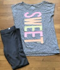 NEW 2pc JUSTICE Sweet OUTFIT Tunic Top Shirt & Gray Leggings 18 20 NWT