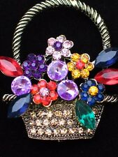 """GOLD RHINESTONE SPRING MOTHER'S DAY EASTER BOUQUETS FLOWER BASKET PIN BROOCH 2"""""""