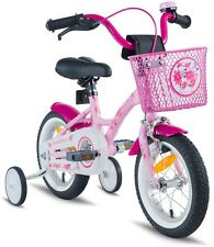 PROMETHEUS Kinderfahrrad 12 Zoll Rosa Mädchen Pink mit Stützrädern ab 3 Jahren