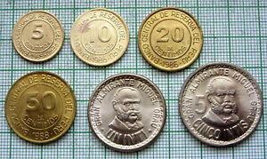 PERU 1985 - 1988 6 COINS SET, ALL UNC