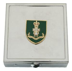 Green Howards Square Pill Trinket Box Chrome with Mirror Gift ME40