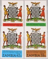 ZAMBIA SAMBIA 1980 233-36 224-27 Coat of Arms Wappen Commonwealth Conf. MNH