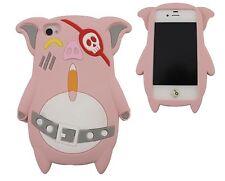 COVER IPHONE 4 4S CASE CUSTODIA SILICONE MAIALINO MAIALE ROSA CHIARO PINK PIG