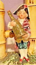 Majolica Double Bud Vase Figure in 18th Century Costume with Wine Bottle Antique