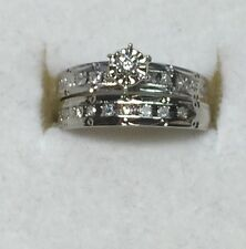 1/10 ct natural (REAL) 22 - DIAMOND ENGAGEMENT ring bridal set SOLID white GOLD