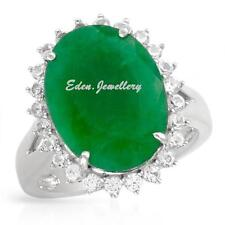 US$980 Gorgeous Ring 10.02ctw Sapphire Cr Emerald 925 Sterling Silver 80% OFF