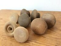 Mixed Lot 8 Vtg Antique Round Solid Oak Walnut Wood Drawer Pulls Cabinet Knobs