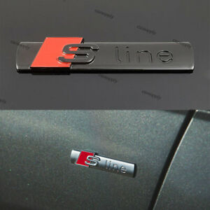 New Quality 3D Black Red Gloss S line Logo Badge Emblem Adhesive Decal For Audi