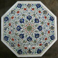 18 Inches White Marble Coffee Table Top Rose Flower Design Inlay Patio Table