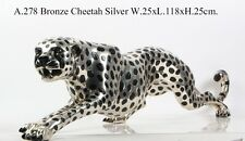 ART DECO SILVER BRONZE CHEETAH STATUE BIG CAT LEOPARD FELINE PANTHER LION JAGUAR