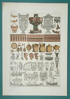 GREECE Utensils Cooking Musical Instruments Chariots - 1883 Color Litho Print