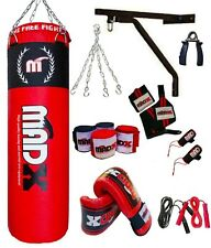 MADX 15 Piece Boxing Set 5ft Filled Heavy Punch Bag Gloves,Chains,Bracket,Kick