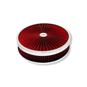 """14"""" X 3"""" Chrome Round Red High Flow Thru Washable Air Cleaner Drop Base for SBC"""