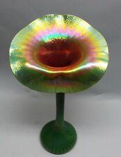 "Very Fine 19"" LUNDBERG Green ""Jack-in-the-Pulpit"" Art Glass Vase c. 1999"