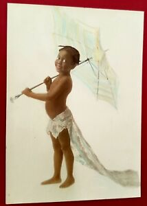 Antique ORIGINAL 1920's Photo of A Black Girl with a Parasol. Unique Work of Art