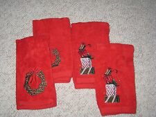 4 Pc Set Red Christmas Fingertip Towels