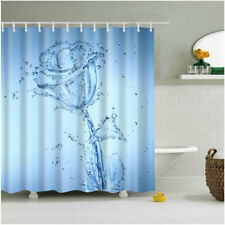 Shower Curtain Water Drops Rose Print Bathroom Curtains Decor Set -12pcs Hooks
