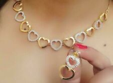 Indian American Diamond Designer Necklace Stone Gold Plated Earrings Heart Love