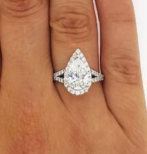 2.55 Ct Pear Shape Cut D/Vs1 Diamond Solitaire Engagement Ring 18K White Gold