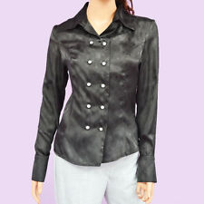 f9dfcee59bda NWT Black Polyester Open Front Button Down Long Sleeve Blouse Top Shirt XS -S-M-L